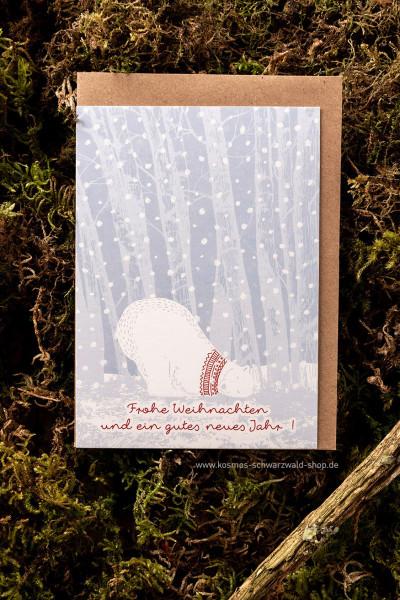 """Postkarte """"Eisbär - Frohe Weihnachten"""""""