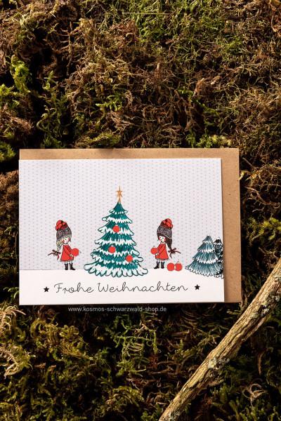 """Postkarte """"Frohe Weihnachten Baum schmücken"""""""