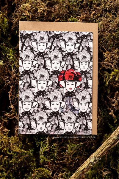 "Postkarte ""Viele Maidle Pfingstrose rot"""