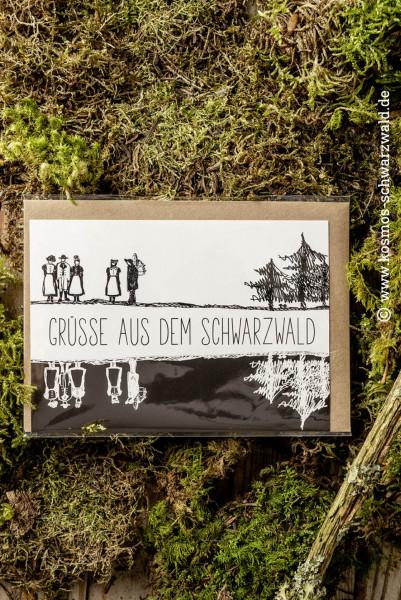 """Postkarte """"Schwarzwald schwarzweiss"""""""