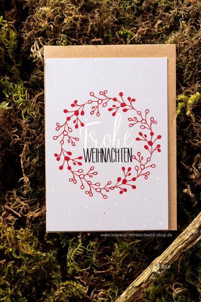 """Postkarte """"Frohe Weihnachten Kranz"""""""
