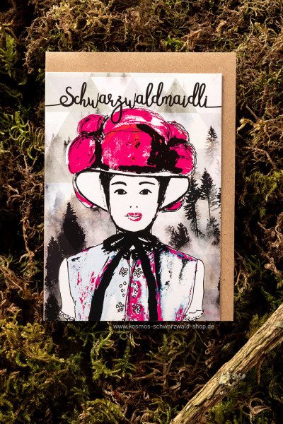 "Postkarte ""Schwarzwaldmaidli"""