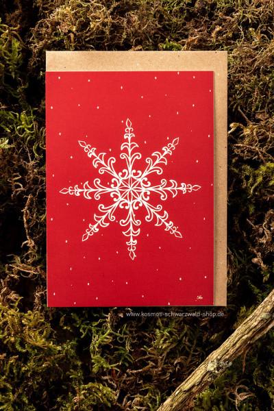 "Postkarte ""Schneekristall rot"""